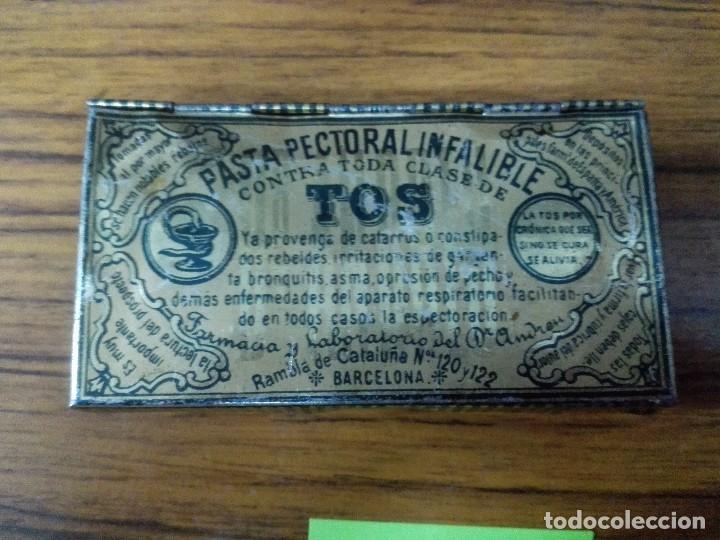 CAJA DE CHAPA PASTA PECTORAL INFALIBLE PARA LA TOS. (Coleccionismo - Cajas y Cajitas Metálicas)