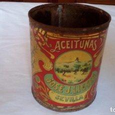 Cajas y cajitas metálicas: ANTIGUO BOTE HOJALATA LITOGRAFIADO ACEITUNAS JOSÉ J. LISSEN SEVILLA. PRINCIPIOS XX MIDE13X10,5CM. Lote 92792705