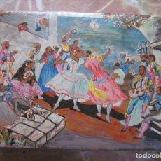 Cajas y cajitas metálicas: CARNAVAL - CAJA DE PIEL PINTADA A MANO - EL JALEO DE CADIZ POR VICENTE CABRERA - 21X28 CM. Lote 93912175