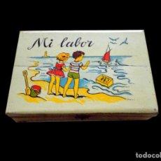 Cajas y cajitas metálicas: CAJA DE LABORES DE NIÑA, ESTUCHE O COSTURERO AÑOS 60. Lote 26190795