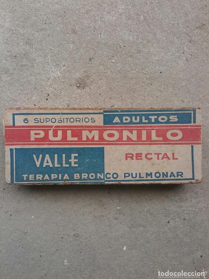 CAJA DE CORCHO DE MEDICAMENTO SUPOSITORIOS ADULTOS PULMONILLO (Coleccionismo - Cajas y Cajitas Metálicas)