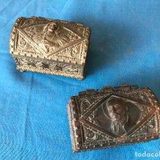 Cajas y cajitas metálicas: PAREJA DE COFRES EN METAL. Lote 94683039