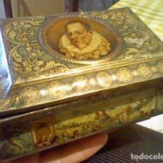 Cajas y cajitas metálicas: CAJA LATA CERVANTES SALINAS ALMENDRAS ALCALA 1905 QUIJOJE MANCHA (AGO17). Lote 94774247
