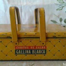 Cajas y cajitas metálicas: ANTIGUA CAJA ASAS CESTA CUBITOS CALDO GALLINA BLANCA. Lote 95202635