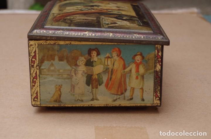 Antigua caja de hojalata litografiada con motiv comprar - Cajas con motivos navidenos ...