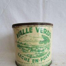 Cajas y cajitas metálicas: CAJA BOTE METALICO DE LECHE EN POLVO VALLE VERDE . Lote 95670747