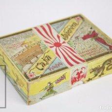 Cajas y cajitas metálicas: ANTIGUA CAJA DE CARTÓN LITOGRAFIADA - CAJA JAPONESA DE LA FORTUNA - BARCELONA - VACÍA - RAREZA. Lote 95814527