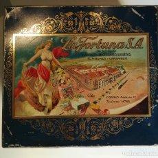 Cajas y cajitas metálicas: ANTIGUA CAJA HOJALATA - LA FORTUNA - FABRICA DE CHOCOLATES GALLETAS BOMBONES Y CARAMELOS DE MADRID. Lote 96035331