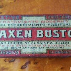 Cajas y cajitas metálicas: LAXEN BUSTO, CAJA DE LATA (HOJALATA), LITOGRAFIADA. PRIMERA ÉPOCA. MUY BIEN CONSERVADA.. Lote 96300600