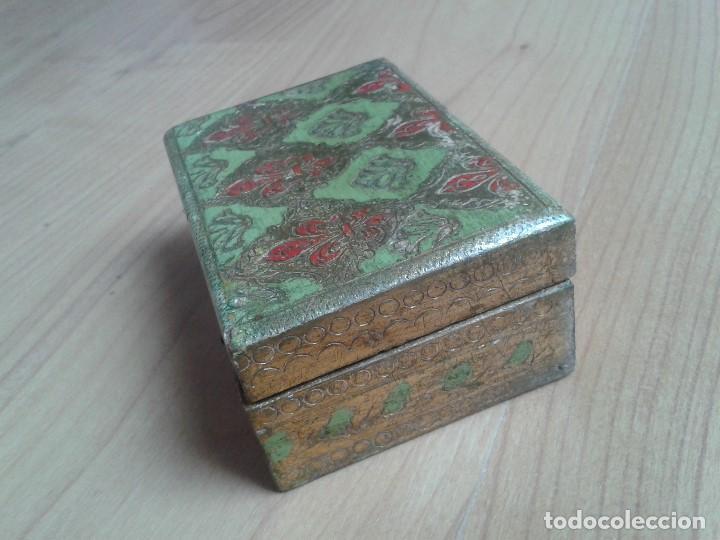 Cajas y cajitas metálicas: Cajita de Madera antigua con pan de oro - Pintada a mano - Escudo Florencia, Italia - 10x7x4 - Foto 2 - 96538359