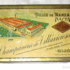 Cajas y cajitas metálicas: ANTIGUA CAJA ORIGINAL DE DULCE DE MANZANA DE CHAMPANERA DE VILLAVICIOSA, DE GIJÓN.. Lote 96870903