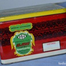 Cajas y cajitas metálicas: ANTIGUA CAJA / LATA HOJALATA - PRODUCTOS HIJANO ESPECIAS E INFUSIONES - ANTEQUERA (MÁLAGA). Lote 97232555
