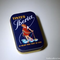 Cajas y cajitas metálicas: CAJA DE CHAPA TINTES IBERIA. Lote 104239618