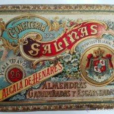 Cajas y cajitas metálicas: CAJA CHAPA LITOGRAFIADA, CONFITERIA DE SALINAS, ALCALA DE HENARES, ALMENRAS GARRAPIÑADAS. Lote 97638251