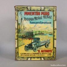 Cajas y cajitas metálicas: CAJA DE CHAPA. PIMENTON PURO EL AUTOMOVIL MURCIA / PLASENCIA (CÁCERES ) (BRD). Lote 97723631