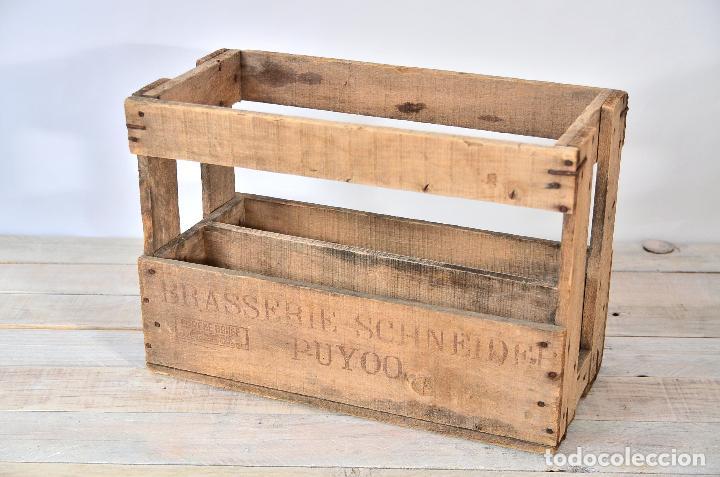Antigua caja de madera para botellas vino o cer comprar cajas antiguas y cajitas met licas en - Comprar cajas de madera para decorar ...