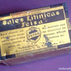 Cajas y cajitas metálicas: FARMACIA, SALES LITINICAS FEISA. 19 X 5,2 X 4,5CM. VELL I BELL. Lote 98502427