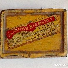 Cajas y cajitas metálicas: FARMÀCIA. SILICATOS DE BISMUTO. LAB. VIVES PÉREZ. 5 X 3,8 X 1,2 CM.VELL I BELL. Lote 98506247