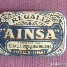 Cajas y cajitas metálicas: FARMÀCIA. REGALIZ AINSA. TUDELA. NAVARRA. 5,5 X 3,5 X 1,2 CM.VELL I BELL. Lote 98506535