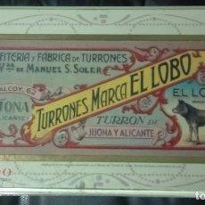 Cajas y cajitas metálicas: CAJA METÁLICA LITOGRAFIADA PUBLICIDAD DE TURRONES EL LOBO (VER FOTOS). Lote 103086579
