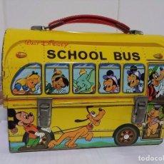 Cajas y cajitas metálicas: ANTIGUA CABÁS SCHOOL BUS DE WALT DISNEY, LUNCH BOX, EN METAL SERIGRAFIADO, EN MUY BUEN ESTADO. PAYV. Lote 112932940