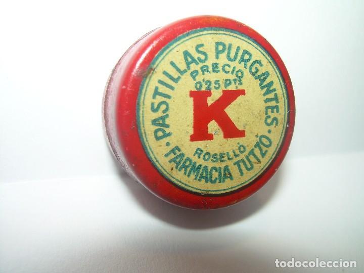 ANTIGUA CAJITA METALICA LITOGRAFIADA....PASTILLAS PURGANTES. (Coleccionismo - Cajas y Cajitas Metálicas)