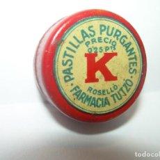 Cajas y cajitas metálicas: ANTIGUA CAJITA METALICA LITOGRAFIADA....PASTILLAS PURGANTES.. Lote 104622647