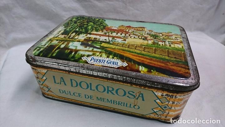 CAJA METÁLICA DULCE MEMBRILLO, LA DOLOROSA, PUENTE GENIL (Coleccionismo - Cajas y Cajitas Metálicas)
