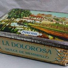 Cajas y cajitas metálicas: CAJA METÁLICA DULCE MEMBRILLO, LA DOLOROSA, PUENTE GENIL. Lote 104807015