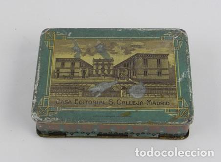Cajas y cajitas metálicas: Antigua caja de hojalata litografiada de cuentos Saturnino Calleja, Joyas para Niños, estuche IX, mi - Foto 3 - 104863087
