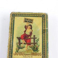 Cajas y cajitas metálicas: ANTIGUA CAJA DE HOJALATA LITOGRAFIADA DE CUENTOS SATURNINO CALLEJA, JOYAS PARA NIÑOS, ESTUCHE XII, M. Lote 104863231