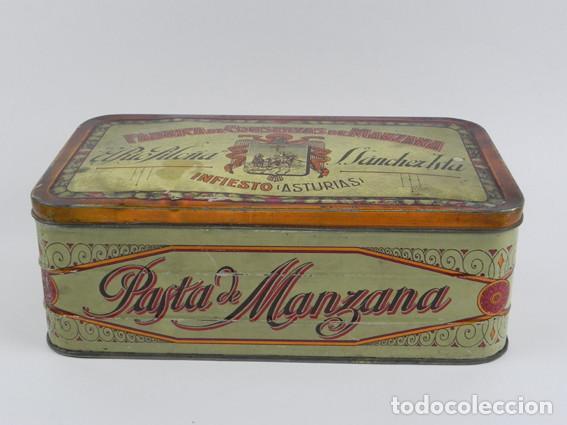 Cajas y cajitas metálicas: ANTIGUA CAJA DE HOJALATA LITOGRAFIADA DE INFIESTO ASTURIAS, EL RIO PILOÑA. FABRICA DE CONSERVAS DE M - Foto 2 - 104865391