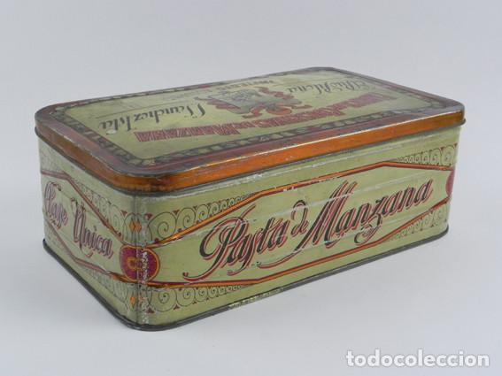 Cajas y cajitas metálicas: ANTIGUA CAJA DE HOJALATA LITOGRAFIADA DE INFIESTO ASTURIAS, EL RIO PILOÑA. FABRICA DE CONSERVAS DE M - Foto 3 - 104865391