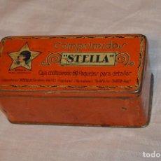 Cajas y cajitas metálicas: VINTAGE - ANTIGUA CAJA DE HOJALATA - COMPRIMIDOS STELLA - PRECIOSA Y ANTIGUA - HAZ OFERTA. Lote 105205439