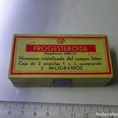Cajas y cajitas metálicas: CAJA DE FARMACIA PROGESTEROIDE LABORATORIOS ABELLÓ SIN DESPRECINTAR ANTIGUA. Lote 106464403