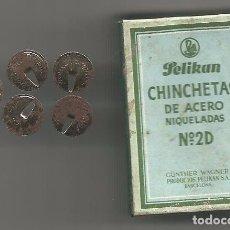 Cajas y cajitas metálicas: ANTIGUA CAJA PELIKAN CHINCHETAS GUNTHER WAGNER PRODUCTOS PELIKAN SA BARCELONA 2,5 PTAS TIMBRE 0,15. Lote 106561019
