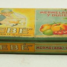 Cajas y cajitas metálicas: CAJA METÁLICA BEBE MERMELADAS Y DULCES, AÑOS 30. 23,5X12,5CM. Lote 107003499
