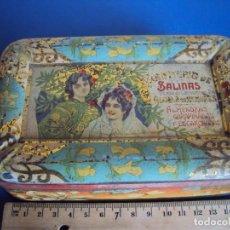 Cajas y cajitas metálicas: (PUB-171245)CAJA CHAPA LITOGRAFIADA, CONFITERIA DE SALINAS, ALCALA DE HENARES,ALMENDRAS GARRAPIÑADAS. Lote 107003503