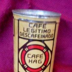 Cajas y cajitas metálicas: BOTE ANTIGUO DE HOJALATA CAFE HAG. Lote 108227275