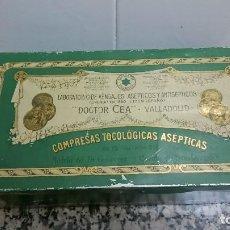 Cajas y cajitas metálicas: CAJA LABORATORIO DE VENDAJES ASEPTICOS Y ANTISEPTICOSMDOCTOR CEA VALLADOLID COMPRESAS TOCOLOGICAS . Lote 108249851