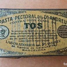 Cajas y cajitas metálicas: LATA SE PASTA PECTORAL DEL DR. ANDREU PARA LA TOS. 1920S. Lote 108393611