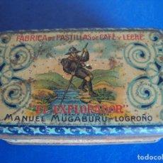 Cajas y cajitas metálicas: (ANT-180024)CAJA LITOGRAFIADA EL EXPLORADOR - MANUEL MUGABURU - LOGROÑO - PASTILLAS DE CAFÉ Y LECHE. Lote 108429139