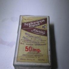 Cajas y cajitas metálicas: CAJA DE FARMACIA TESTOVIRON SIN DESPRECINTAR. Lote 108460563