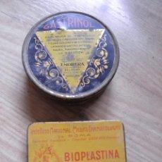Cajas y cajitas metálicas: DOS CAJAS DE MEDICAMENTOS GASTRINOL BIOPLASTINA. Lote 109417987