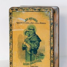 Cajas y cajitas metálicas: CAJA DE LATA SAN ANTONIO. FÁBRICA MODELO A VAPOR. ANTONIO AGUILAR BERRAL. PUENTE GENIL.. Lote 110069323