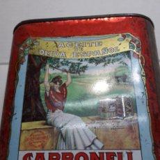 Cajas y cajitas metálicas: LATA ANTIGUA ACEITE CARBONELL. Lote 110658018