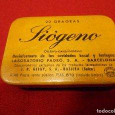 Cajas y cajitas metálicas: ANTIGUA CAJITA DE HOJALATA LITOGRAFIADA DE FARMACIA - SIOGENO -. Lote 111275427