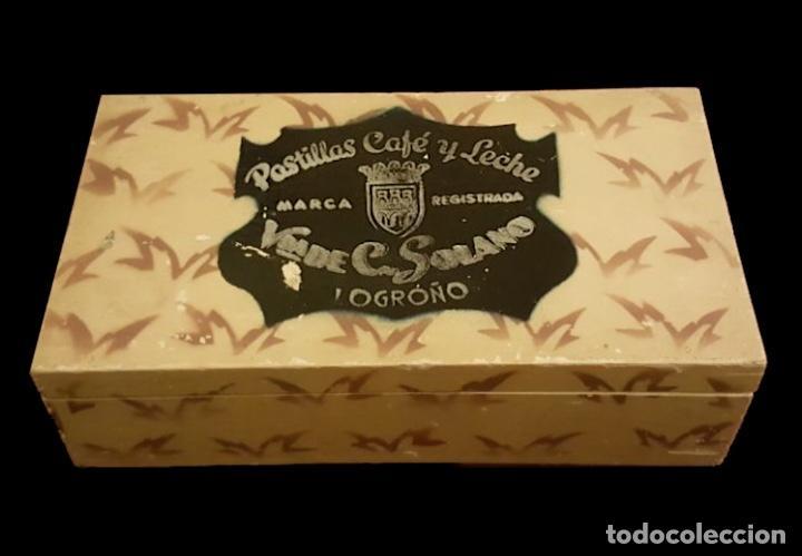 CAJA DE MADERA, VDA DE SOLANO, LOGROÑO, ÚNICA EN TODOCOLECCIÓN. (Coleccionismo - Cajas y Cajitas Metálicas)