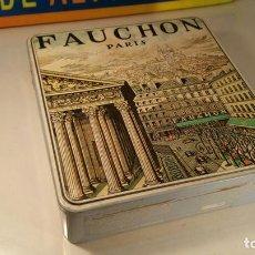 Cajas y cajitas metálicas: CAJA HOJALATA LITOGRAFIADA FAUCHON PARIS 1988 GALLETAS. Lote 112557783