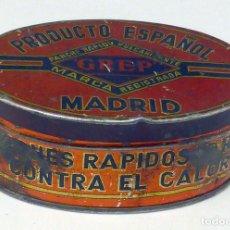 Cajas y cajitas metálicas: CAJA HOJALATA PARCHES RÁPIDOS GREP VULCANIZABLES MADRID AÑOS 40. Lote 112883159